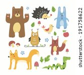 cute forest animals set | Shutterstock . vector #191758622