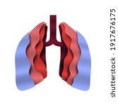 paper cut human lungs on... | Shutterstock .eps vector #1917676175