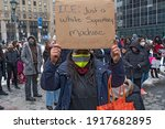 """Small photo of NEW YORK, NY - FEBRUARY 15: Demonstrators call to """"Free Them All"""" during an Abolish ICE (Immigration and Customs Enforcement) protest for Javier Maradiaga on February 15, 2021 in New York City."""