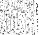pattern flowers vector line... | Shutterstock .eps vector #1917773405