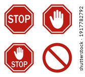 red stop sign isolated on white ... | Shutterstock .eps vector #1917782792