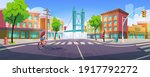 people on city street with... | Shutterstock .eps vector #1917792272