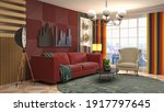 interior of the living room. 3d ... | Shutterstock . vector #1917797645