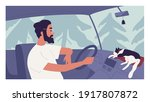 young person driving car with... | Shutterstock .eps vector #1917807872