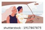 romantic couple of happy people ... | Shutterstock .eps vector #1917807875