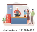 chef fry the food in a wok.... | Shutterstock .eps vector #1917816125
