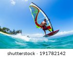 windsurfing  fun in the ocean ... | Shutterstock . vector #191782142