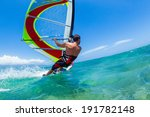 windsurfing  fun in the ocean ... | Shutterstock . vector #191782148