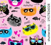 cute seamless pattern with cats....   Shutterstock .eps vector #1917826028