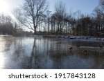 Frozen Lake On A Sunny Winter...