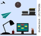 flat design  of modern office...