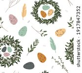 spring seamless pattern. cute... | Shutterstock .eps vector #1917847352
