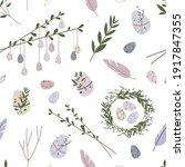 spring seamless pattern. cute... | Shutterstock .eps vector #1917847355