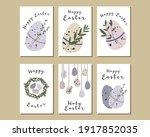 easter cards. cute easter egg ... | Shutterstock .eps vector #1917852035