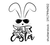 my first easter   cool bunny in ... | Shutterstock .eps vector #1917996902
