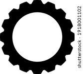 gear line icon in black  flat...