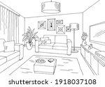 living room graphic black white ... | Shutterstock .eps vector #1918037108