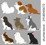 set of flat colored cute and...   Shutterstock .eps vector #1918040672