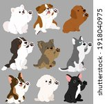 set of flat colored cute and...   Shutterstock .eps vector #1918040975