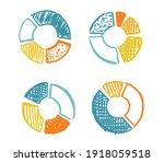 doodle hand drawn pie diagrams... | Shutterstock .eps vector #1918059518