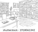 Library Interior Graphic Black...