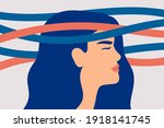 sad woman with nervous problems ... | Shutterstock .eps vector #1918141745
