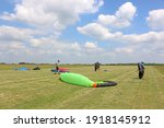 Paraglider Launching Wing In A...
