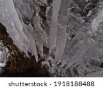 High Angle View Of Icicles With ...