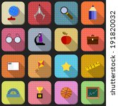 16 flat icons for school | Shutterstock . vector #191820032