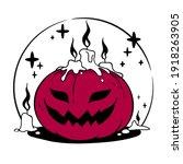 halloween composition of... | Shutterstock .eps vector #1918263905