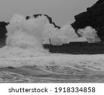 Side On View Of Big Wave About...
