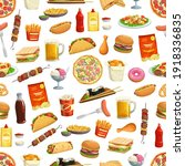 fast food pattern background of ... | Shutterstock .eps vector #1918336835