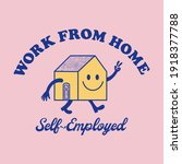 retro happy house mascot vector ... | Shutterstock .eps vector #1918377788