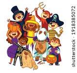 children in halloween costumes. ... | Shutterstock .eps vector #1918385072