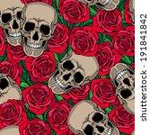 seamless pattern with skulls... | Shutterstock .eps vector #191841842