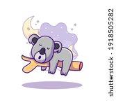 cute koala sleeping on tree... | Shutterstock .eps vector #1918505282