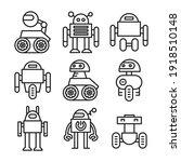 robot icon set line vector...   Shutterstock .eps vector #1918510148