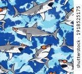 seamless pattern of a sharks... | Shutterstock .eps vector #1918525175