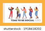 youth characters with phones... | Shutterstock .eps vector #1918618202