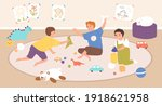 children playing indoors with... | Shutterstock .eps vector #1918621958