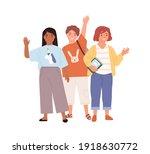 schoolchildren waving hands and ... | Shutterstock .eps vector #1918630772