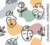 art line face seamless pattern...   Shutterstock .eps vector #1918649852