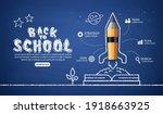 realistic pencil rocket... | Shutterstock .eps vector #1918663925