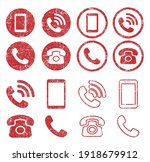 grunge stamp phone icon symbol...