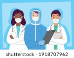 group of doctors staff wearing... | Shutterstock .eps vector #1918707962