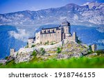 Sion, Switzerland. Notre-Dame de Valere, fortified church in canton of Valais, Swiss medieval landmark.