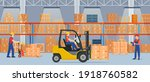 warehouse interior with...   Shutterstock .eps vector #1918760582