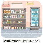 showcase with groceries in the...   Shutterstock .eps vector #1918824728