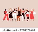happy girls dancing. body... | Shutterstock .eps vector #1918829648