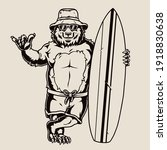 surfing vintage monochrome... | Shutterstock .eps vector #1918830638